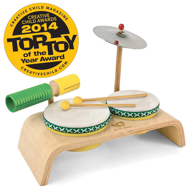 Beginner Drum Set Green Tones Musical Instruments For Children
